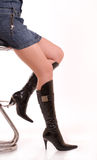 Elegant female legs in leather boots. On a heel Royalty Free Stock Photo