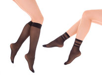 Elegant female legs in socks Royalty Free Stock Images