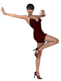 Elegant female model in exuberant pose. Female with short hair in red silk dress and  ruby jewellery standing one legged Stock Photography