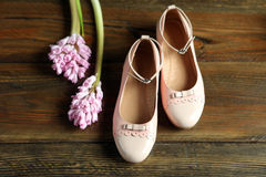 Elegant female shoes with a delicate flower. Elegant female rose shoes with a delicate flower Royalty Free Stock Photos