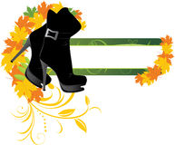 Elegant female shoes and maple leaves. Banner Royalty Free Stock Image