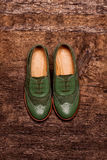 Elegant female shoes on a wooden surface. Elegant female green shoes on a wooden surface Royalty Free Stock Images