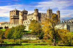 Medieval castles of Italy - Castello di Fenis in Valle d`Aosta Stock Images