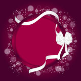 Elegant festive red background with circular curved back and white ribbon with a white bow. Royalty Free Stock Images