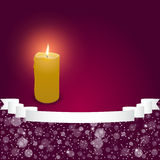 Elegant festive red background with horizontal wide ribbon and a burning candle. Vector Royalty Free Stock Photography