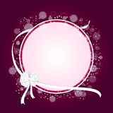 Elegant festive red background with a round pink tag and white ribbon with a white bow. Vector Stock Photography