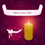 Elegant festive red card with a pink banner and a red box with a white bow with a burning candle. Vector Stock Image