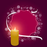 Elegant festive red card with a red tag, white ribbon and a burning candle. Stock Image