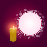 Elegant festive red card with a round hole and a burning candle. Royalty Free Stock Image