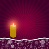 Elegant festive red card with a white ribbon and curved with a burning candle. Vector Royalty Free Stock Photography