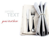 Elegant Festive table setting place with fork and knife on a gre Stock Photo