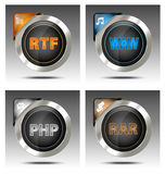 Elegant file type icon set Royalty Free Stock Image