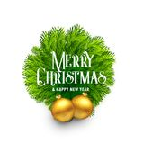 Elegant fir leaves frame with balls for merry christmas festival. Vector Stock Image