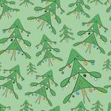Elegant fir-trees seamless texture. Elegant New Year trees on a green background stock illustration