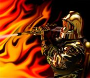 Elegant firefighter. Firefighter in elegant uniform fighting the fire Stock Photos