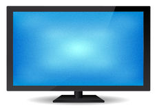 Elegant Flat Glossy Blue Screen TV Stock Photography