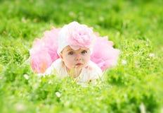 Elegant flicka i grönt gräs Arkivbilder