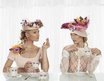 Elegant flicka med kopp te och uttryck Royaltyfri Fotografi