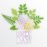 Elegant floral background with 3d paper flowers. And leaves, place for text. Spring floral greeting card. Origami trendy design template. Paper cut spring stock illustration