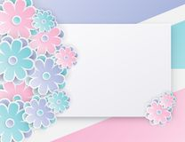 Elegant floral background with 3d paper flowers. And place for text. Origami trendy design template. Paper cut spring flower holiday texture. Pastel colors Royalty Free Stock Photography