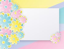 Elegant floral background with 3d paper flowers. And place for text. Origami trendy design template. Paper cut spring flower holiday texture. Pastel colors vector illustration