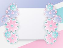 Elegant floral background with 3d paper flowers. And place for text. Origami trendy design template. Paper cut spring flower holiday texture. Pastel colors stock illustration