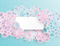 Elegant floral background with 3d paper flowers. And place for text. Spring floral greeting card. Origami trendy design template. Paper cut spring flower stock illustration