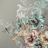 Elegant floral background with flowers and humming birds Stock Photos