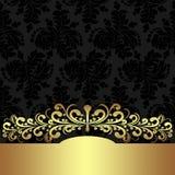 Elegant floral  Background with golden border. Stock Photography