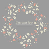 Elegant floral circle frame with butterflies and hearts Royalty Free Stock Photo
