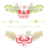 Elegant floral decorative elements for celebration cards Stock Images