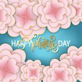 Elegant floral Greeting card. Happy Valentine`s Day lettering. P Stock Images