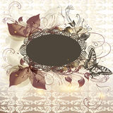 Elegant floral invitation background with banner for text vector illustration