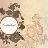 Elegant floral invitation card with roses royalty free illustration