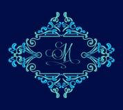 Elegant floral monogram emblem template. Vintage frame design Stock Photography
