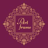 Golden retro frame. Elegant floral monogram logo design template. Lineart vector illustration. royalty free illustration