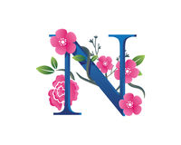 Elegant Floral N Alphabet Logo Illustration Royalty Free Stock Image