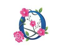 Elegant Floral O Alphabet Logo Illustration Royalty Free Stock Image