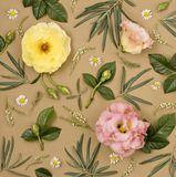 Elegant floral ornament. Elegant floral ornament from various flowers on a pastel background. Flat lay, top view Stock Photo