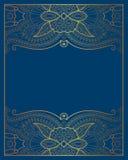 Elegant floral ornamental background, golden decor on blue Royalty Free Stock Image