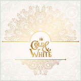 Elegant floral ornamental background with. Inscription Gold and White, golden decor on light pattern, can be use for invitation, wedding, greeting card, cover Stock Image