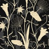 Elegant floral pattern on a dark background Royalty Free Stock Photo