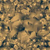 Elegant Floral Pattern in Dull Brown Tones Stock Photography