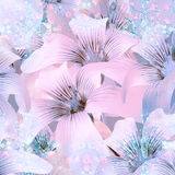 Elegant Floral Pattern in Light Cold Tones Royalty Free Stock Photos