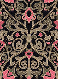 Elegant floral pattern. Pattern with ornamental flowers. Pink and green filigree ornament on a black background. Colorful template for wallpaper, textile, shawl Stock Images