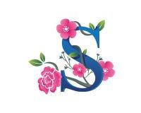 Elegant Floral S Alphabet Logo Illustration Stock Photo