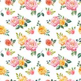Vintage style watercolour floral seamless pattern. Hand painted pink and yellow flowers on white background. Shabby chic. vector illustration