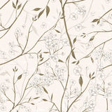 Elegant floral seamless pattern over beige Stock Image