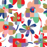 Elegant floral seamless pattern. Simplistic vector seamless pattern design, repeating background with spring flowers for web and print use Royalty Free Stock Photo
