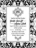 Elegant floral swirls, lacy pattern ornate frame. Monogram and place for text. Wedding invitation in classical formal style in black and white with flowers and Royalty Free Stock Image